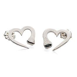 Nail Heart Earrings in Silver