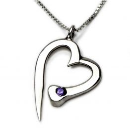 Nail Heart Necklace with Diamond in Silver