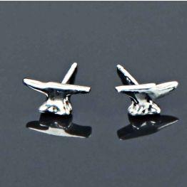 Silver Small Anvil Earrings