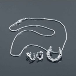 Concave Shoe Necklace & Earring Set in Silver