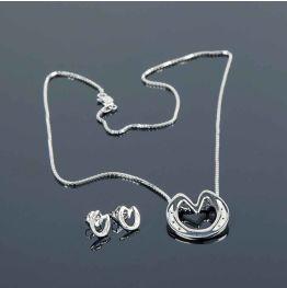 Heart Bar Necklace & Earring Set in Silver