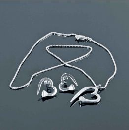 Heart Nail Necklace & Earring Set in Silver