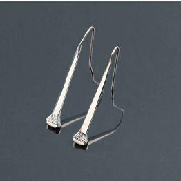 Long Nail Earrings in Silver