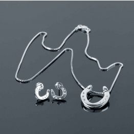 Plain Stamp Roadster Necklace & Earrings Set in Silver